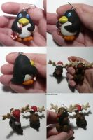 Penguin + Rudolf Ornaments by ChibiSilverWings