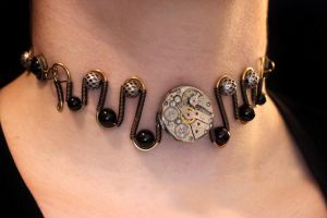 Steampunk Choker - Clockwork Mechanism by CatherinetteRings