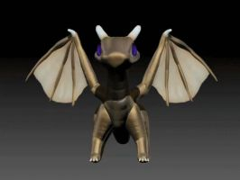 3D Golden Dragonling by cubehero