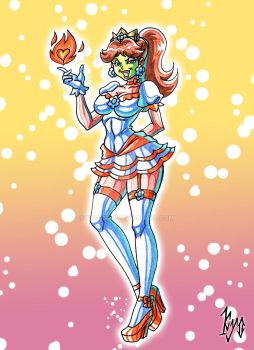 Princess Daisy in her Fire Flower Outfit Masked by kyo-domesticfucker