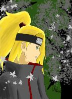 Deidara in the forest by ChelseaSixxStewart