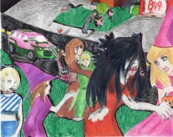 Zombie Attack on Halloween by xashesfallx