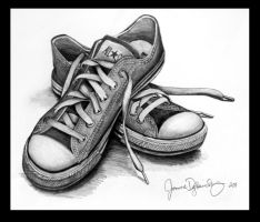 Shoes - Pencil Drawing by mimie8