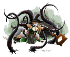 Hama's Black Tentacles [Commission] by TheDJTC