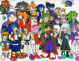 Sonic group shot only human by Hyliaman