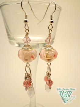 Pink Pandora Style Dangle Earrings by TheSortedBead