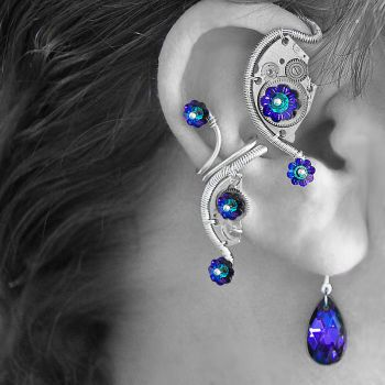 Heliotrope Steampunk Ear Wrap n Cuff Set v2- SOLD by YouniquelyChic
