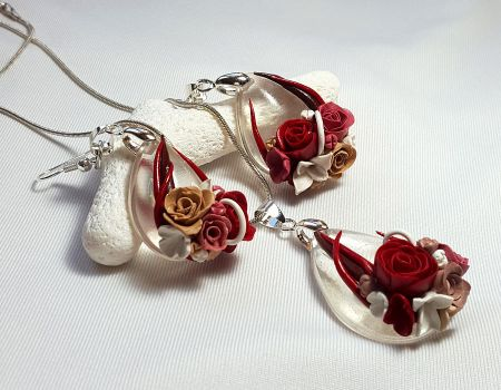 Handmade Pendand and Earrings Set with Roses by Somnambula81