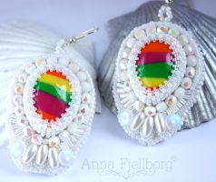 Bead Embroidery Earrings III by annafjellborg
