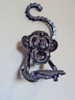 Steampunk Monkey-Wall candle holder by metalmorphoses