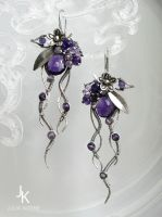 Midnight garden amethyst silver earrings by JuliaKotreJewelry