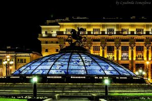 Fountain World Clock at night by Lyutik966