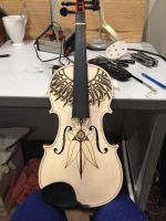Violin Pyrography Project (1/2 progress) by DC-Pyrography