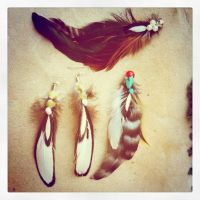 Feather Jewelry made by me. by nequita