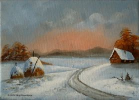 Oil landscape 'Winter Sunset. Haystacks' by Pandalanda