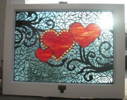 3 hearts mosaic window by reflectionsshattered