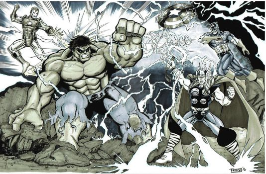 Avengers vs Hulk by Budprince