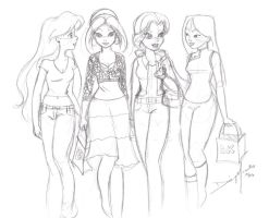 Modern Day Princesses Sketch by Jupta