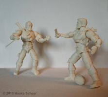 3D printed action figures fighting by hauke3000
