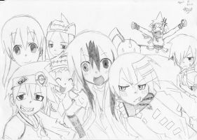 Soul Eater gang and my OC by aquamista