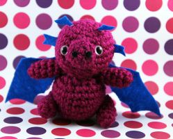 Amigurumi Pink and Blue Dragon by AmiTownCreatures