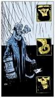 rain on hellboy, colored. by erspears