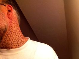 Attempt at dragon scales on my neck by nighthawkblack1