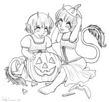 Natasha and Natalia's Happy Halloween Lineart by OtakuEC