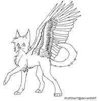 Winged Cat Lineart (MS Paint Friendly) by WolfStarr7