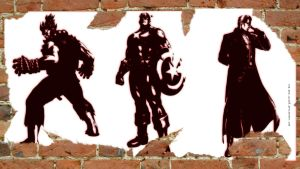 Akuma, Cap, Wesker MVC3 wall by The-Red-Jack03