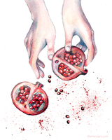 Pomegranate Watercolor by disco-mouse