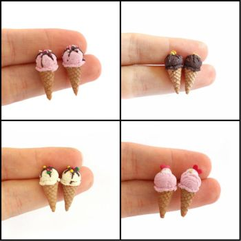 Tiny Ice Cream - Stud Earrings by Maca-mau