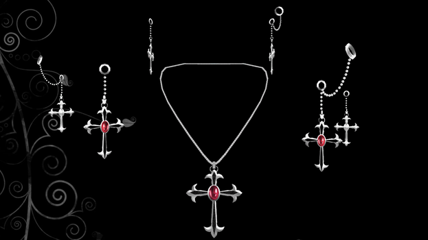Gothic Cross Earrings+Necklace Set by ninjapirate10194