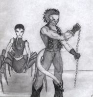 Cerberus and Arachne by Silvre