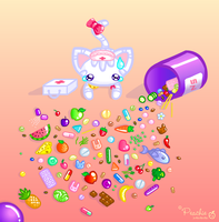 Clumsy Kitty Spilled Vitamins by Princess-Peachie