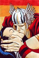 Thor and Sif kiss by Raax-theIceWarrior