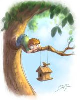 Birdhouse and me by Sabinerich