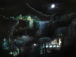 Tropical forest by moonlight by hecestmoi