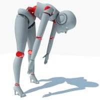 Rigged Female Robot 3DS Max by Gandoza