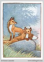 ACEO: Moonrise Foxes by emla
