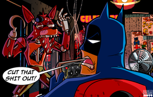 Batman vs. Foxy commission by MichaelJLarson