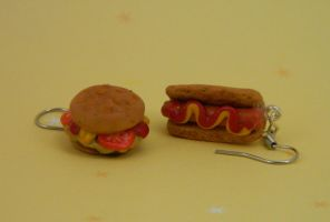 Hotburger and Hamdog Earrings by kicat