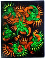 Fluorescent acrylics on black canvas 5 by ArtGenEeRing