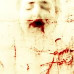 closed eyes, bloody mouth by partiallyHere