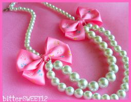 Lolita Pearls Bows Necklace by bitterSWEETones