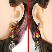 Autumn Leaf Connecting Chain Earrings by merigreenleaf