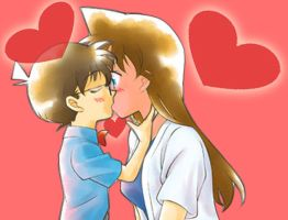 Sweet Conan kiss Ran love by black4869