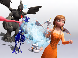 MMD Frozen-PKMN - Anna's weakness  = water and ice by JackFrostOverland