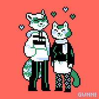 raccoon and cat couple by Gwnne