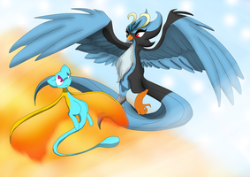 Collab: Fire and Ice (Moltres and Articuno TF) by DarkDragon-Phoenix